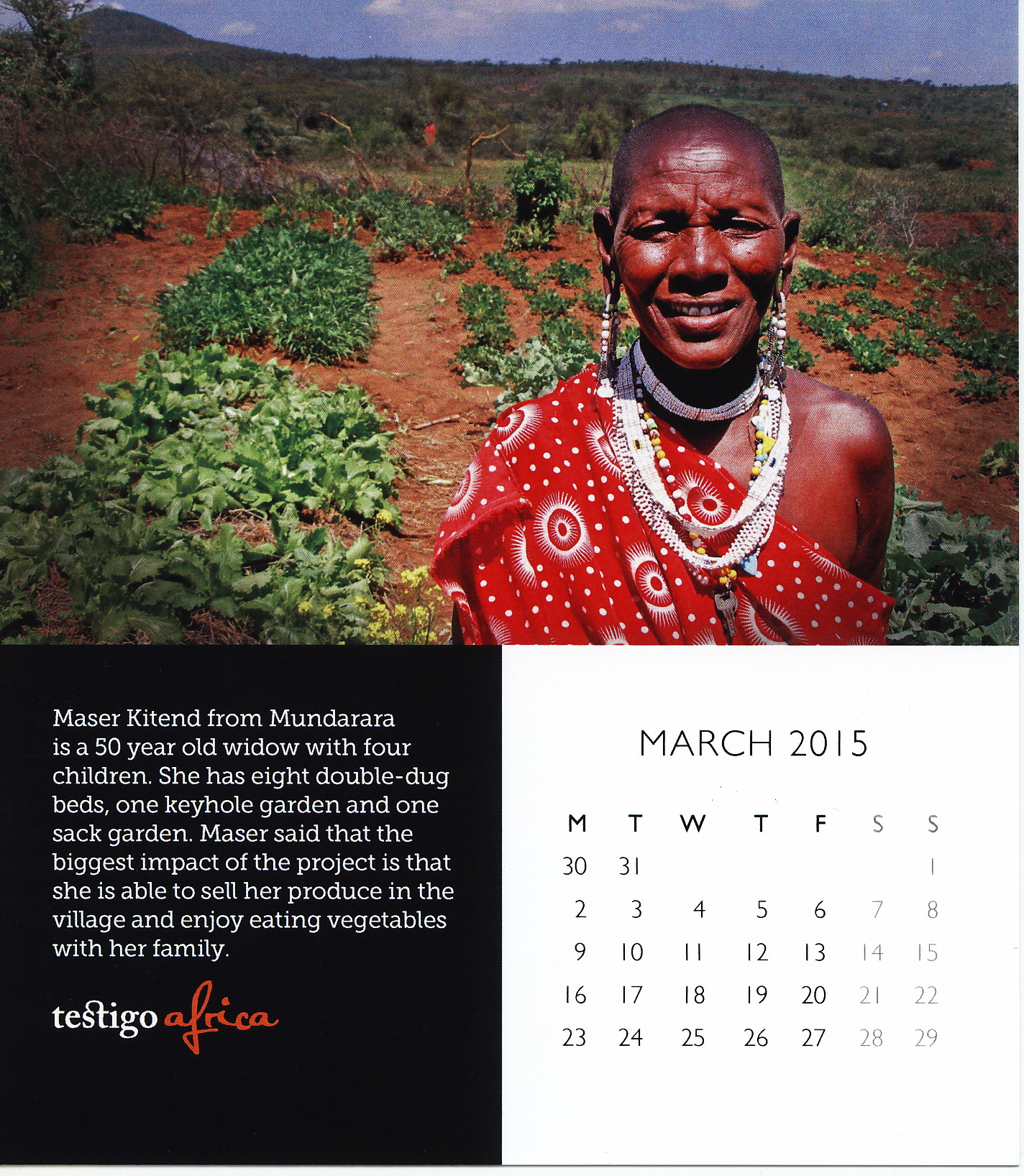 Photo of the 2015 desktop calendar march page