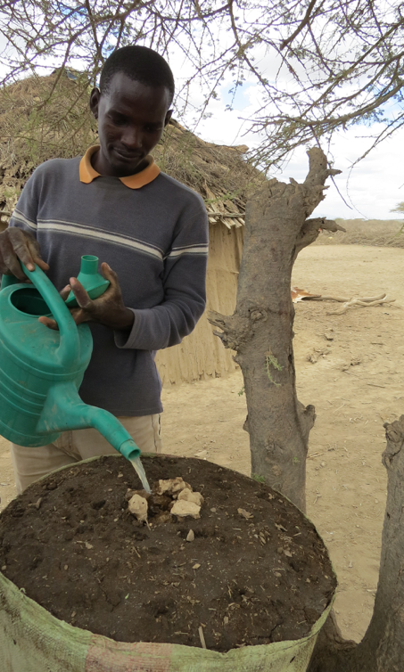 Testigo trainer, Philipo, demonstrating the construction and watering of a sack garden in Olchurai village.