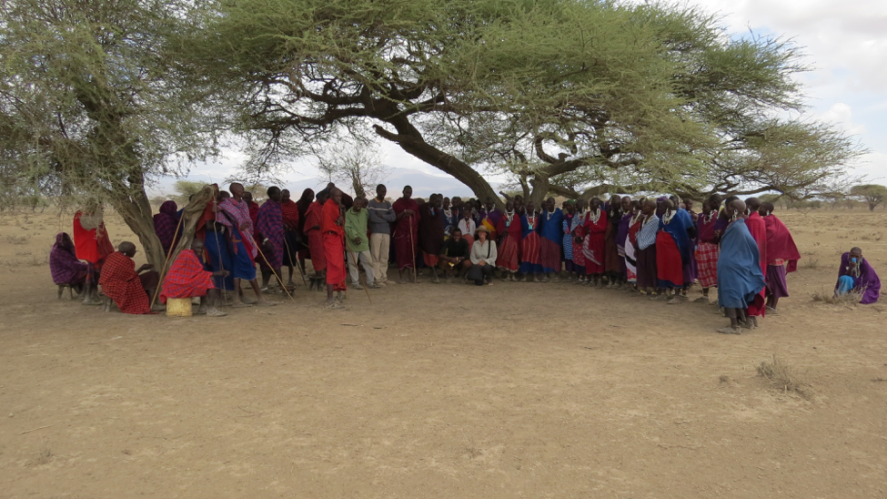 Photo showing a lot of Masai grouped together under some trees.